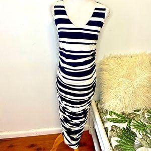Portmans Size M Navy Blue & White Bodycon Dress